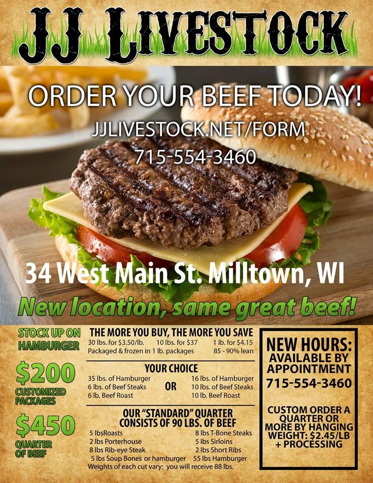 JJ Livestock Beef For Sale Milltown WI